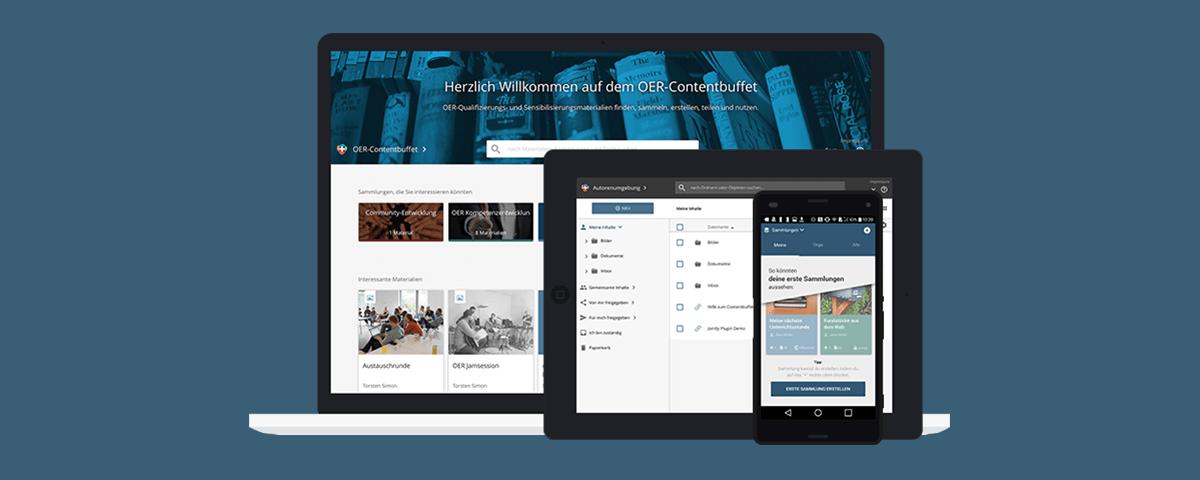 Bild: edu-sharing auf Desktop, Tablet und Smartphone